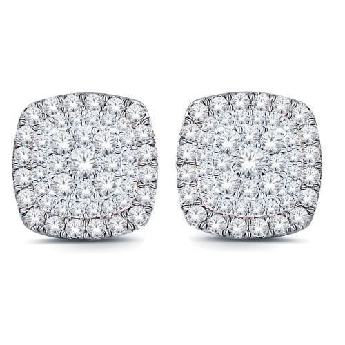 1.00 CT. T.W. Diamond Halo Earrings In 10K Gold