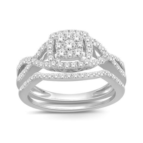 Everlasting Love® 2.00 Ct. T.W Diamond Halo Bridal Set In 14K Gold
