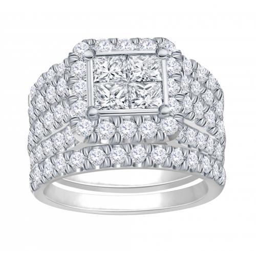 Everlasting Love® 4.00 CT. T.W Diamond Quad Halo Bridal Set In 14K Gold