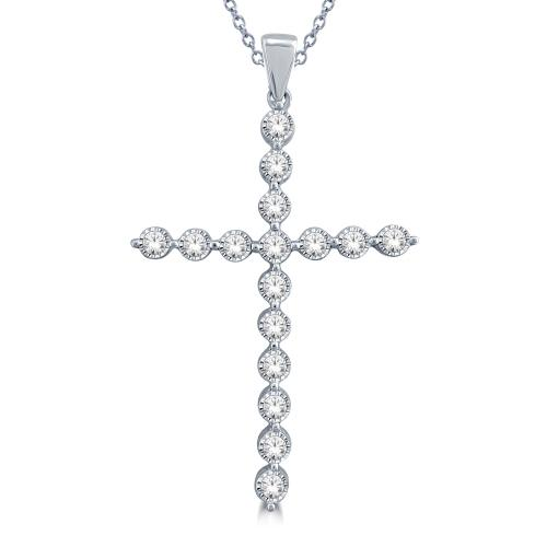 1/2 CT. T.W. Diamond Cross Pendant In 10K Gold