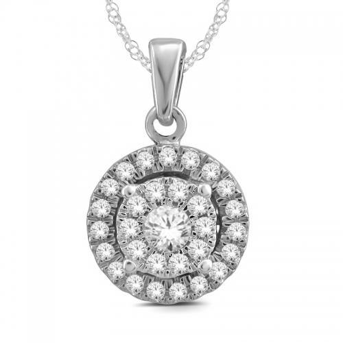 Everlasting Love® 1/2 CT. T.W Diamond Halo Pendant In 14K Gold