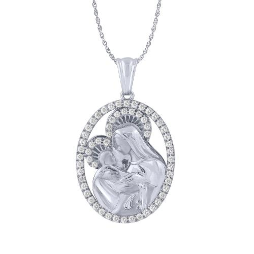 1.00 CT. T.W. Diamond Mary With Baby Jesus Pendant In 14K Gold