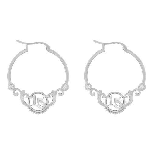 Sweet 15 Girls 1/10 CT.T.W. Diamond Hoop Earrings in 14K Gold