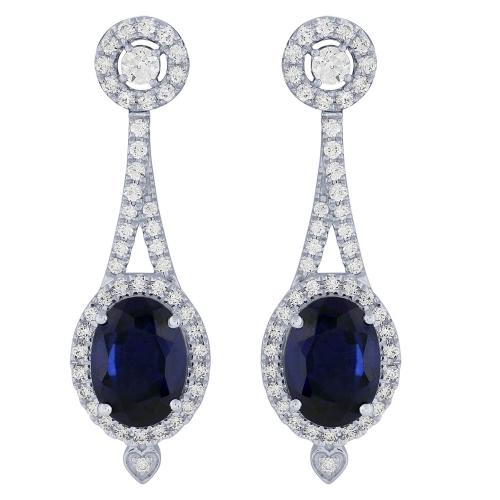 3.20 CT. T.W. Sapphire And 0.63 CT. T.W. Diamond Earrings In 14K Gold