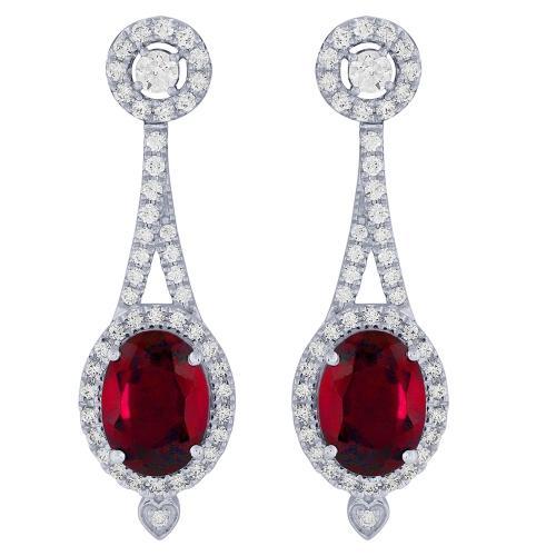 3.50 CT. T.W. Ruby And 0.63 CT. T.W. Diamond Earrings In 14K Gold
