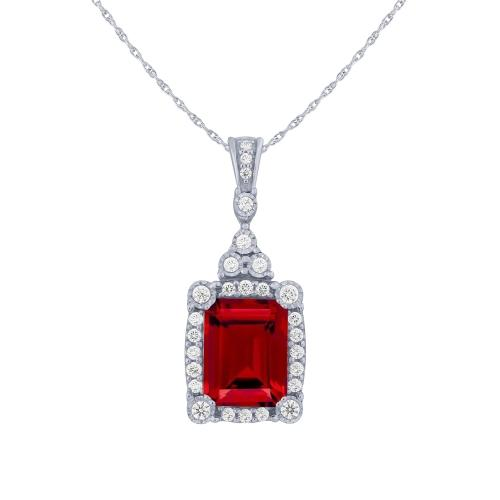 3.33 CT. T.W. Ruby And 1/4 CT. T.W. Diamond Pendant In 14K Gold
