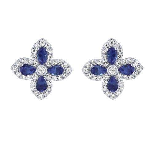 2.18 CT. T.W. Sapphire And 2/5 CT. T.W. Diamond Earrings In 14K Gold
