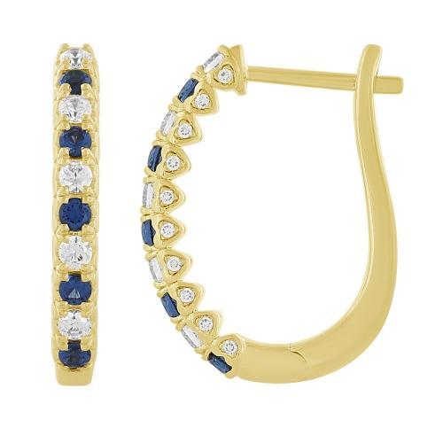 Sapphire and 1/2 CT.T.W. Diamond Hoop Earrings in 14K Gold
