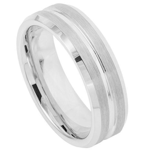 Cobalt High Polish Beveled Edge, Brushed Grooved Center - 7MM Band