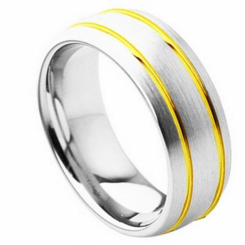 Cobalt Domed Brushed Finish with High Polished Yellow Gold Plated Double Grooved Design - 8MM Band