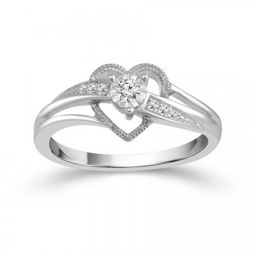 1/10 CT. T.W. Diamond Heart Promise Ring In 14K Gold