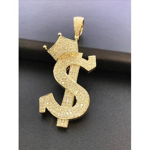 4.38 CT. TW. (VVS-VS CLARITY) DIAMONDS CROWNED DOLLAR PENDANT IN 14KT YELLOW GOLD (VVS - VS DIAMONDS)