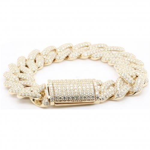 31.10 CT. TW. (VVS-VS CLARITY) DIAMONS CUBAN LINK 20MM GENTS BRACELET IN 14KT YELLOW GOLD (VVS - VS DIAMONDS)