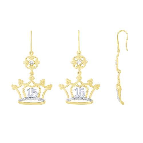 Sweet 15 Girls 0.25 CT. T.W. Diamond Earrings In 14K Gold
