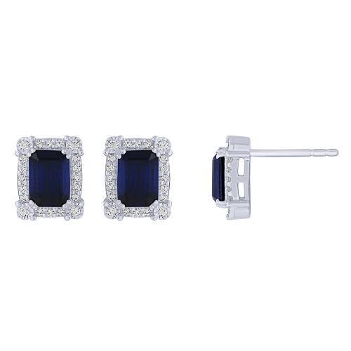 0.25CT. T.W. DIAMOND 2.00-CT SAPPHIRE EARRINGS IN 14K GOLD