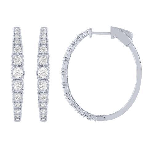 Diani® Collection 1 CT. T.W. Diamond Hoop Earrings In 14K Gold