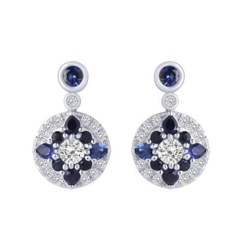 """0.8CT. T.W. DIAMOND """"Ovani®-COLLECTION"""" 1-CT SAPPHIRE EARRINGS IN 18K GOLD"""