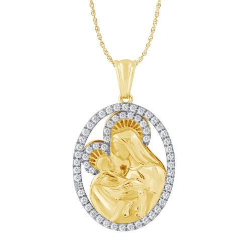 Ovani®-22 1.00 CT. T.W. Diamond Mary and Baby Jesus Pendant In 22K Gold