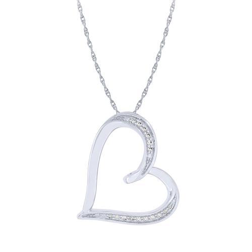 0.08 CT. T.W. Diamond Heart Pendant In 10K Gold