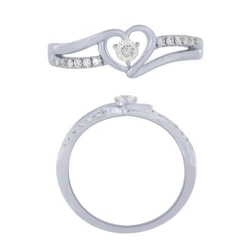 0.20 CT. T.W.  Diamond Heart Promise Ring In 14K Gold