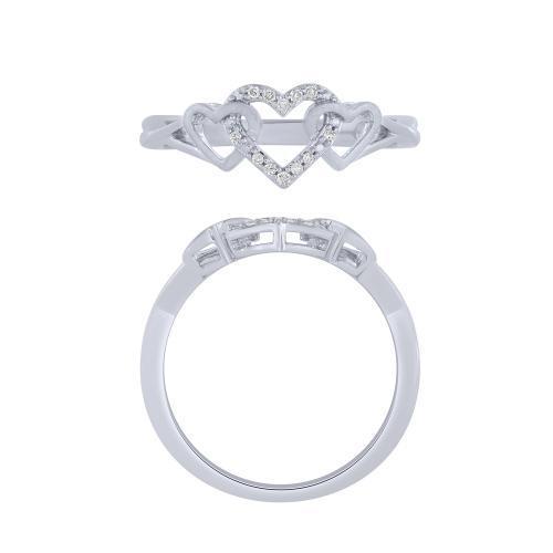 0.05 CT. T.W.  Diamond Heart Promise Ring In 14K Gold