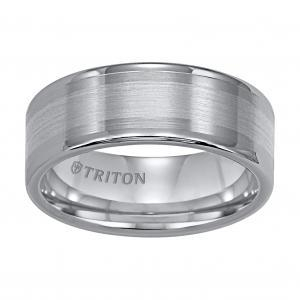 Triton 8MM Tungsten Carbide Brush Finish Flat Center With Bright Polish Round Edges And 18K White Gold Inlay Comfort Fit Wedding Band
