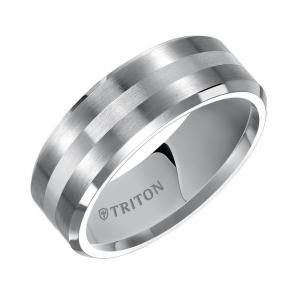 Triton 8MM Satin Finish Bevel Edge Tungsten Carbide Comfort Fit Band With Silver Inlay