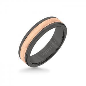 Triton 6MM Black Tungsten Carbide Band - Vertical Satin 14K Rose Gold Insert With Round Edge