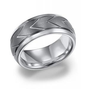 Triton 8MM White Tungsten Carbide Domed Comfort Fit Band With Center Brush Finish Bright Edges And Chevron Pattern Cuts