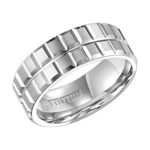Triton 8MM White Tungsten Carbide Comfort Fit Band With Textural Engraving