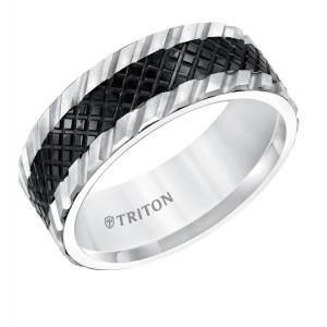 Triton 8MM Black And White Tungsten Comfort Fit Band With Center Texture