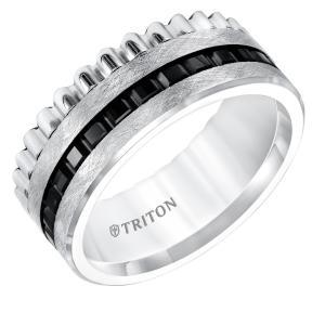 Triton 9MM Black And White Tungsten Comfort Fit Band With Center Texture