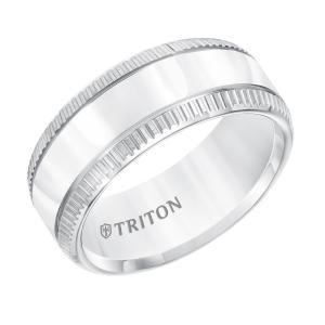 Triton 9MM Flat White Tungsten Carbide Band With Coin Edge Rims & Bright Center