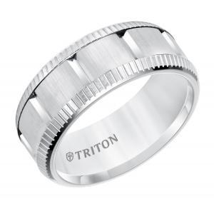 Triton 9MM Multi Piece White Tungsten Carbide Comfort Fit Band With Bright Coin Rims & Vertical Cuts