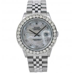 Pre-owned Rolex 36mm MOP Datejust In Stainless Steel With Diamond Bezel