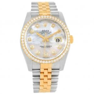 Pre-Owned Rolex 36mm Datejust Two Tone with Diamond Bezel & Mother of Pearl Diamond Dial
