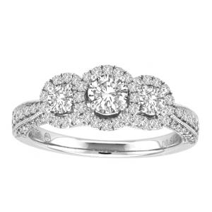 Ovani® Collection 1/2 CT. Center and 1.40 CT. T.W. Diamond 3Stone Ring In 18K Gold