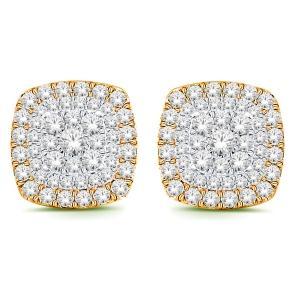 1.00 Ct.t.w. Diamond Halo Earrings in 10K Gold