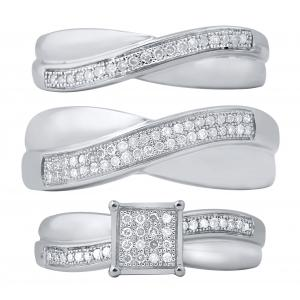 0.37 CT. T.W. Diamond Trio Set In 14K Gold