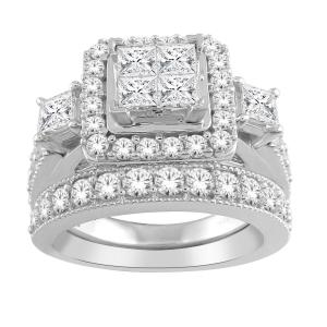 1.00 CT.T.W. Diamond Quad Halo Bridal Set in 10K Gold