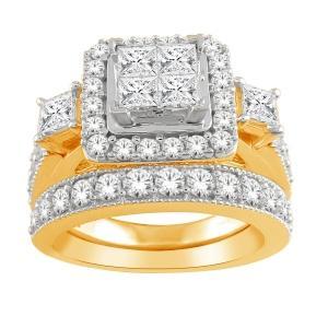 1.00 CT.T.W. Diamond Quad Halo Bridal Set in 10K Gold