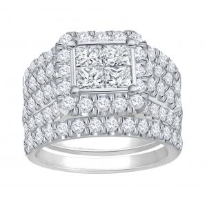 Everlasting Love® 4.00 CT.T.W Diamond Quad Halo Bridal Set in 14K Gold