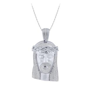 2.00 CT. T.W. Diamond Jesus Face Pendant In 10K White Gold