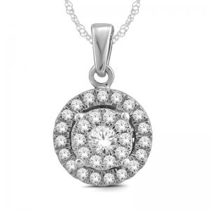 Everlasting Love® 1/2 CT. T.W Diamond Halo Pendant In 14K Gold