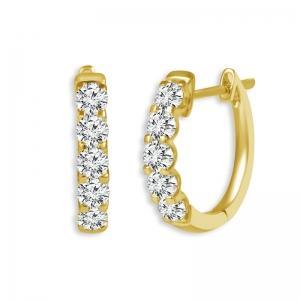 2.00 CT. T.W.  Diamond Hoop Earrings In 14K Gold