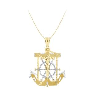 0.38 CT. T.W. Diamond Jesus Anchor Cross Pendant In 14K Gold