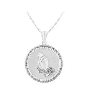 0.33 CT. T.W. Diamond Prayer Hands Pendant In 14K Gold