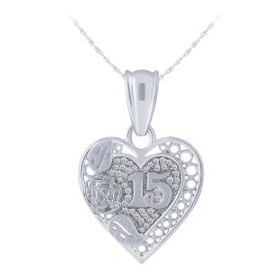 Sweet 15 Girls 0.12 CT. T.W. Diamond Heart Pendant In 14K Gold
