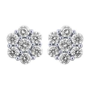 14KT GOLD 3.00CT DIAMOND FLOWER EARRING