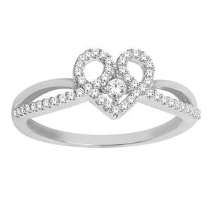 1/5 CT. T.W. Diamond Heart Shaped Promise Ring In 10K Gold